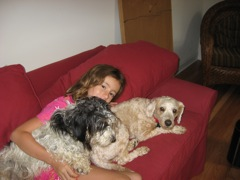 Picture of Maya, an Australian Labradoodle, with her family